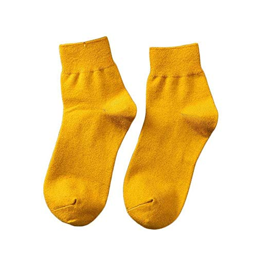 DCPPCPD Frauen Baumwollsocken Stilvolle Candy Color Casual atmungsaktiv Süße Socke Frauen Herbst Winter Frauen im koreanischen Stil Socken 4 Paar, Dunkles Gelb