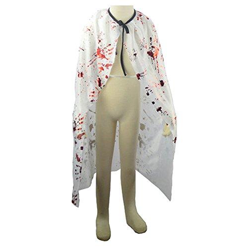 SpringPear Weiß Elfumhang mit Blutfleck Kostüm Teufel Umhang Verkleidung Mantel für Magier Halloween Theater Karneval Fasching
