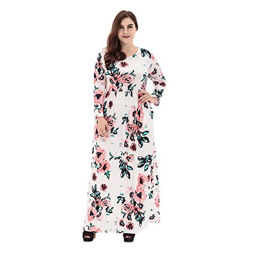Hzjundasi Damen Boho Lang Sommer Kleider Plus Size - Flowy Floral Bedruckt Lange Ärmel Sommer Party Freizeit Maxi Kleider ()