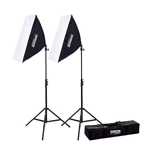 Fovitec - 2 Softboxstudioleuchten Für Video Und Fotoaufnahmen (51 cm x 71 cm) EZ Setup, Gesamtleistung Entspricht 850 Watt [Automatisches Aufklappen] [Dauerbeleuchtung] [85-W-Leuchtmittel] -
