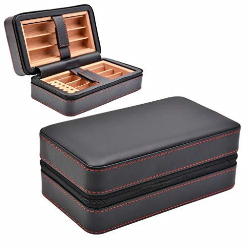 Jolly Humidor de Cuero Genuino para Viajes de la Caja de cigarros, Madera de Cedro Forrada con humidificador y bandejas extraíbles, Caja de cigarros portátil Liviana para Regalo (Color : Black)