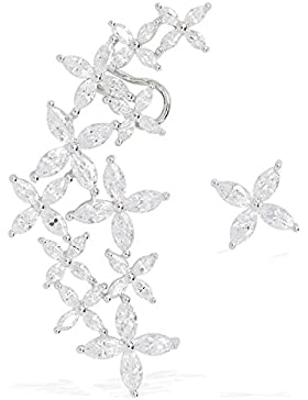 Damen Ohrklemme Ohrring Ohrstecker Piercing ear cuff mit zirkonia aus Rhodium Blume Weiß