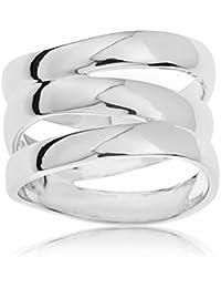 Ornami Sterling Silver Plain Triple Band Ring