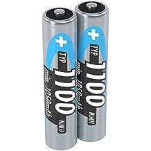ANSMANN Micro AAA Akku 1,2V Typ 1100mAh - Leistungsstarke NiMH AAA Akkus für Geräte mit hohem Stromverbrauch - wiederaufladbare Batterien AAA ideal für Blitzgerät Kamera & Fernbedienung - 2 Stück