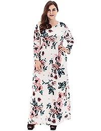 Hzjundasi Mujer Boho Largos Vsetido Grande - Vestido Estampado Fluido Floral Manga Larga Verano Partido Ocio