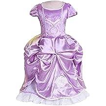 GenialES Disfraz de Vestido Princesa Púrpura Largo Lindo con Mangas Cortas para Cumpleaños Fiesta Cosplay de Niñas 3-7 años