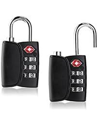 TINKSKY 2pcs TSA bagages serrures câble à 3 chiffres voyage serrures cadenas Password cadenas à combinaison avec alerte recherche pour valise Backpack