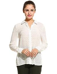 Meaneor Damen Chiffon Bluse Hemdbluse Punkt Langarm mit Hemddkragen und  Knopfleiste Schwarz Weiß 9398ea0433