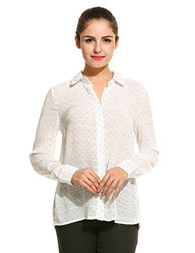 Meaneor Damen Bluse Chiffonbluse Hemd Punkt Langarm mit Hemddkragen und Knopfleiste Weiß M