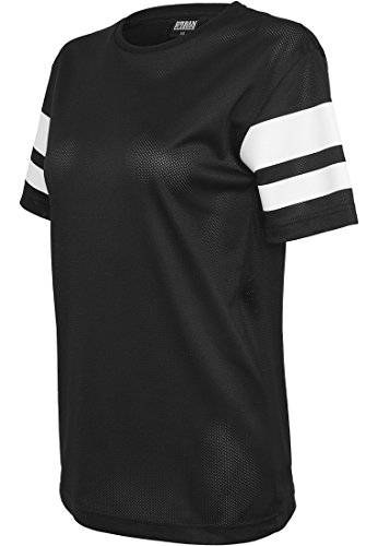 T-Shirts Femme Urban Classics Ladies Stripe Mesh Tee noir/blanc