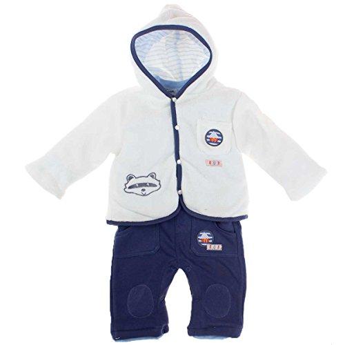 TOM KIDDY Baby Jungen 3tlg. Set Latzhose Hose Shirt langarm Jacke gefüttert blau weiß (74)
