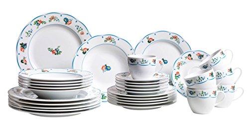 Domestic by mäser série 926908 vieux jardin table 30 pièces pour 6 personnes porcelaine avec imprimé d'un motif