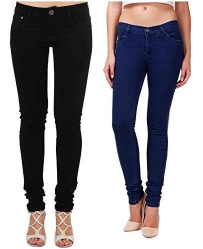 Adbucks Silky Cotton Lycra Stretchable Womens Jeans (Combo of 2) (40, Black+Dxblue)