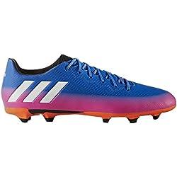 adidas Messi 16.3 FG, Botas de fútbol para Hombre, Azul (Blue/FTWR White/Solar Orange), 43 1/3 EU