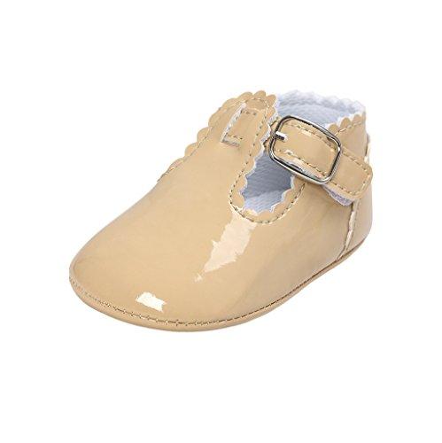 Auxma Baby Mädchen PU Leder Schuhe Sneaker Anti-Rutsch Soft Sole Kleinkind Schuhe für 0-18 Monate (12-18 M, Marine) khaki