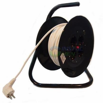 Preisvergleich Produktbild SPIN Profi Kabeltrommel | 40m Länge | 4 Steckdosen Keramik | Kabel 3X1.5 | Nennstrom 16A | Innen u. Außenbereich geeignet