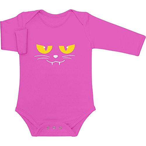 Katzen Gesicht Gruselig Halloween Karneval Kostüm Baby Langarm Body Newborn wow rosa