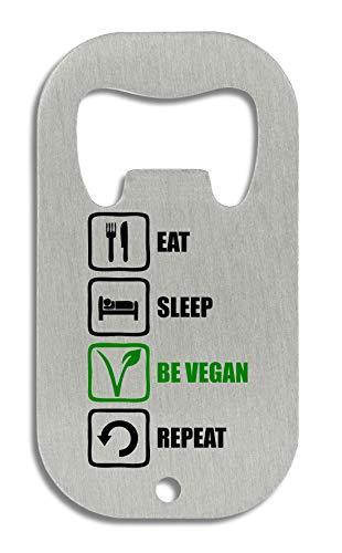 LukeTee Eat Sleep Be Vegan Repeat Funny Black Green Graphic Flaschenöffner