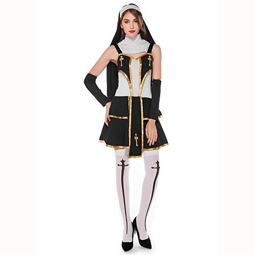 HJG Priester Nonne Kostüm für Damen, Sexy Schwester Kostüm für Erwachsene, Verführerin Religiöse Vikare Schwarzes - Priester Nonne Kostüm