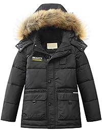 Mallimoda Jungen Daunenjacken Winterjacke mit Kapuze Kinder Lange Mantel Warm Wintermantel