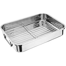 Gran bandeja para horno de acero inoxidable con estante de acero inoxidable (cm x 28