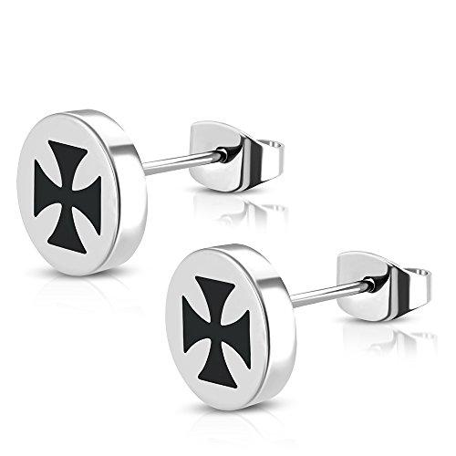 BlackAmazement 2er Set Ohr Stecker Iron Cross Eisernes Kreuz schwarz silber Piercing ()