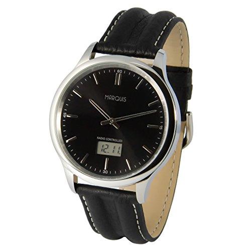 MARQUIS Herren Funkuhr, Schwarzes Lederarmband, Edelstahlgehäuse, Armbanduhr, Junghans-Uhrwerk 964.6018