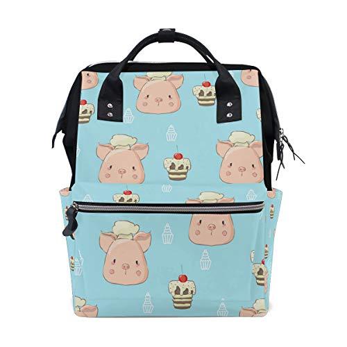 Animal Cute Pig - Mochila para pañales con diseño de cerdito con tarta para mamá, tamaño grande...