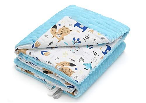 Qualität Baumwolle Stoff (EliMeli Babydecke Kuscheldecke junge Krabbeldecke 75x100 | Ultraweicher Gestreifter Microfaser-Plüsch Stoff aus Baumwolle | Füllung | hoch Qualität | ideal als Kinderwagendecke (Blau - Waldtiere))