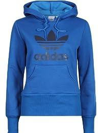 the best attitude 5e59f 344aa adidas Felpa con cappuccio da donna Trefoil, Blu (royal scuro f12 navy  scuro