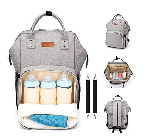 Baby Wickelrucksack Wickeltasche mit Wickelunterlage, 2 Kinderwagen-haken, Große Kapazität, Multifunktional, Wasserdicht, Grau
