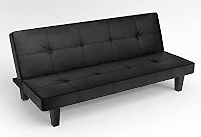 Modern Black Faux Leather Click Clack Sofa Bed Living Room Furniture - cheap UK sofabed shop.