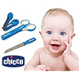 Chicco MANICURE SET Baby Nail Cutter Trimmer 3pc Set, Baby Nail Care Set Portable Mini Baby Toddler Nail Clippers Safety Scissors Cutter Infant Nail Care Accessories Toddler Safety Finger Nail Manicure Trimmer Set