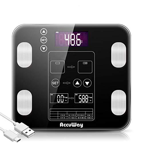 HiXB Körperfett Waage Digital Weight Personenwaage Hochpräzise Körperfettwaage BMI Muscle Mass Three Color,Black,USBcharging