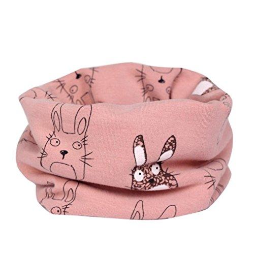 Hunpta Jungen Mädchen Winter warme Kragen Baby Schal Cartoon gedruckt Ring Halstücher (Rosa)