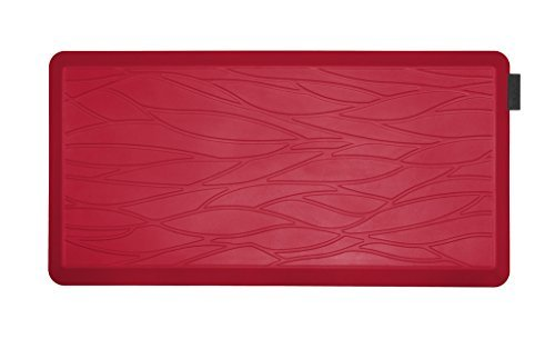 NUVA Salon Antislip Anti-fatigue Mats Antimicrobial >99.9%, Non-toxic Odor, Water Resistant, 39x20x0.75 inch., Various sizes & colors, Commercial Grade:10 years Warranty(Red, Wave Pattern) by Nuva