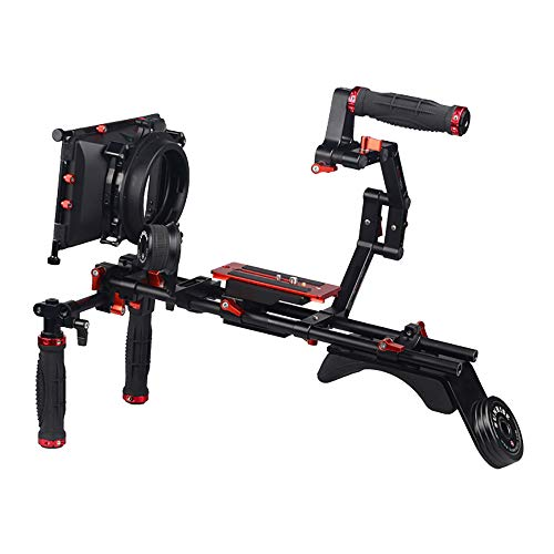 LFTS DSLR-Kamerakäfig Schultermontage Rig Kit mit Follow Focus Matte Box Schulterstabilisator Unterstützung für Video-DV-Camcorder HD DSLR 15 mm Stab C-förmige Halterung Dv-matte Box