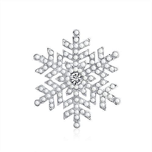 Bling Jewelry Weihnachten Urlaub Weiß Simulierten Perle Kristall Schneeflocke Broschen & Anstecknadeln Für Damen Rhodiniert