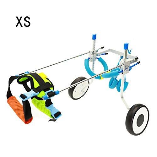 Silla de ruedas ajustable para perro pequeño (XS), peso de 2,26 a9kg, rehabilitación de patas traseras, peso ligero
