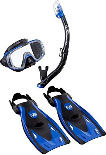 TUSA Schnorchelset Visio Travel - Taucherbrille Tauchmaske Trockenschnorchel Flossen Tasche Erwachsene (L (40-46+), Blau)