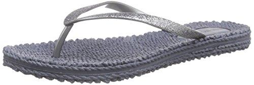 Ilse Jacobsen Damen Sandalen flach | Flip Flops mit Riemen | Schuhe mit Sohle aus Bast | Glitter Look | CHEERFUL01,Grau (Grau (006)),37