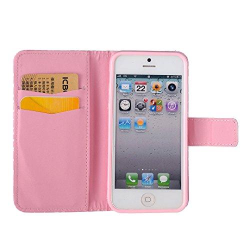 iPhone SE / 5 / 5S Hülle im Bookstyle, Xf-fly® PU Leder Flip Wallet Case Cover Schutzhülle für Apple iPhone SE / 5 / 5S Tasche Handytasche Schutz Etui Schale Handyhülle P-5