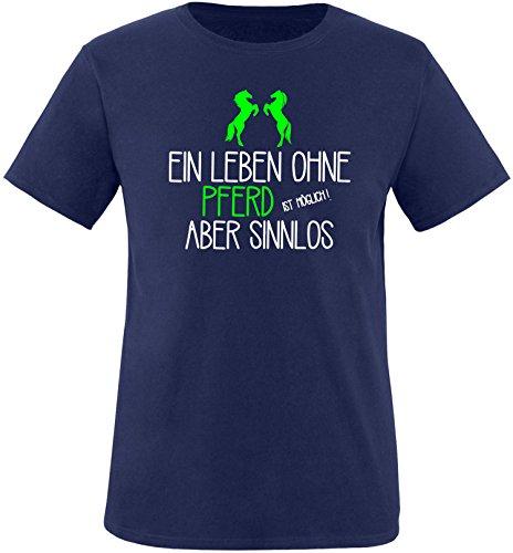 EZYshirt® Ein Leben ohne Pferd ist möglich ! Aber sinnlos Herren Rundhals T-Shirt Navy/ Weiß/ Neongr