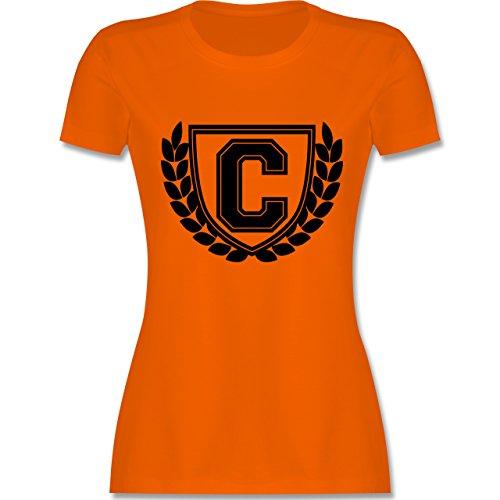 Anfangsbuchstaben - C Collegestyle - tailliertes Premium T-Shirt mit Rundhalsausschnitt für Damen Orange