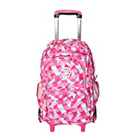 Hzjundasi Trolley Backpack Students Bag - with Six wheels Climbing Stairs - Stylish Rolling Backpack Shoulder Bag for Girls Kids Children