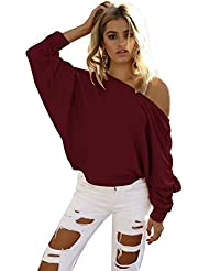 Womens Bardot Off Shoulder Batwing Long Sleeve Casual Jumper Ladies Stretch Top Blouse