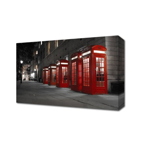 LONDON TELEPHONE BOX CANVAS ART PRINT CANVAS ART PRINT BOX CANVAS READY TO HANG CITYSCAPE 48 inch x 30 inch