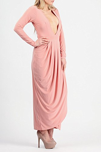 Mesdames froncée Cocon drapée Wrap robe Midi Taille UK 8–14 Rose