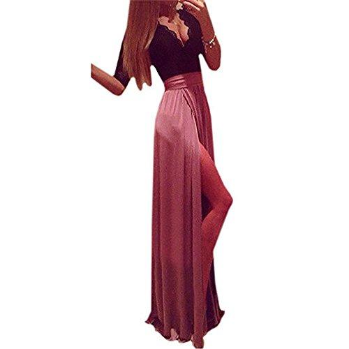 Zweifarbige lange Abendkleid Rosa