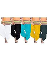 Crafts 100% Pure Solid Cotton Semi Patiala Salwar Bottoms Indoor Outdoor For Women's & Girls( Color White / Black...